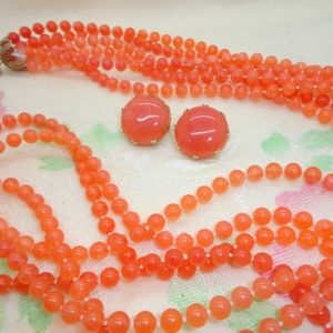 Orange Multi-Strand Necklace and Earrings